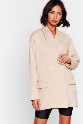 Nasty Gal Womens Business Minded Double Breasted Longline Blazer - Stone