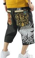 QBO Men's Rhino Hip-hop Embroidery Loose Denim Short Baggy Jeans-36