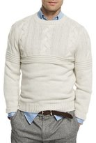 Brunello Cucinelli Cashmere Cable-Knit & Ribbed Sweater, Gray