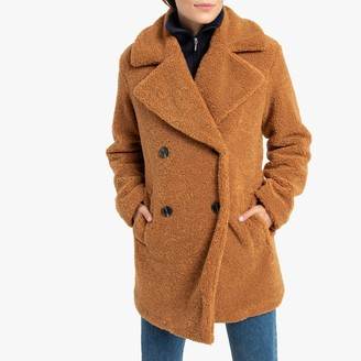 La Redoute Collections Teddy Faux Fur Coat with Double-Breasted Buttons