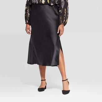 A New Day Women's Plus Size Midi Satin Skirt