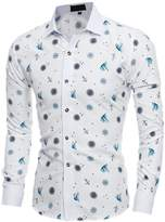 uxcell® Men Long Sleeves Anchor Boat Novelty Prints Button Down Shirt
