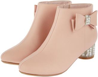 Monsoon Belinda Pearl and Diamante Heeled Boots Pink