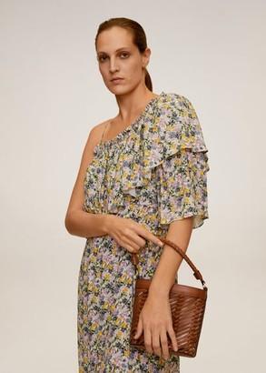MANGO Woven lattice bucket bag medium brown - One size - Women