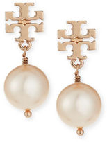 Tory Burch Pearly Logo Drop Earrings