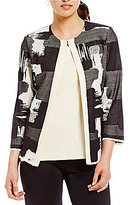 Misook Jewel Neck Brushstroke Print Jacket