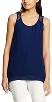 Molly Bracken Women's Plain Round Collar Sleeveless Vest - Blue -
