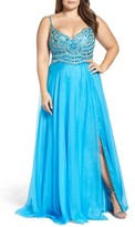 Mac Duggal Plus Size Women's Embellished Gown