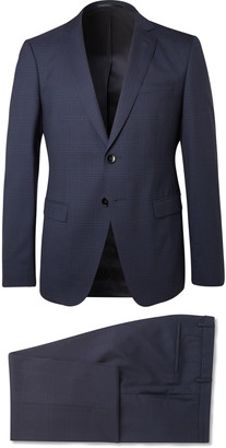 HUGO BOSS Navy Reymond/wenten Slim-Fit Checked Virgin Wool Suit
