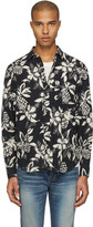 Saint Laurent Black Hibiscus Shirt