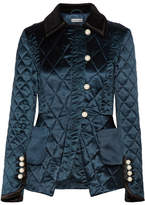 Altuzarra Isolde Velvet And Satin-trimmed Silk-blend Metalassé Jacket - Midnight blue
