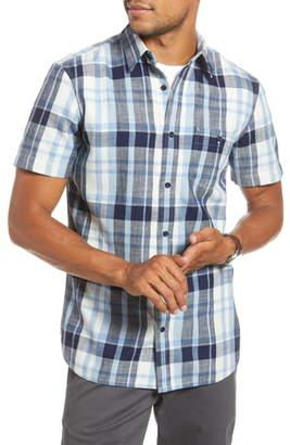 1901 Trim Fit Plaid Short Sleeve Button-Up Sport Shirt