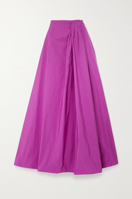 Valentino Gathered Cotton-blend Faille Maxi Skirt - Pink