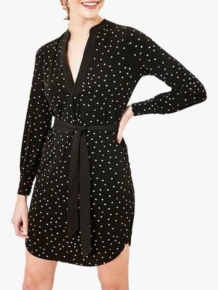 Oasis Spot Pintuck Dress, Black