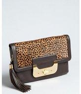 Diane von Furstenberg tan and chocolate spotted calf hair and leather 'Harper' tassel envelope clutch