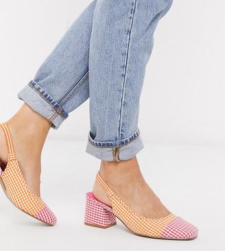 ASOS DESIGN Wide Fit Whisker slingback mid heels in gingham