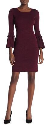 Nina Leonard Ribbed Knit Bell Sleeve Sweater Dress