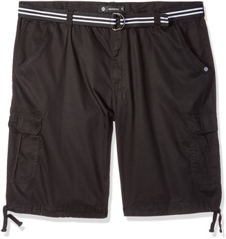 Akademiks Men's Big and Tall Belted Cameron Twill Cargo Short