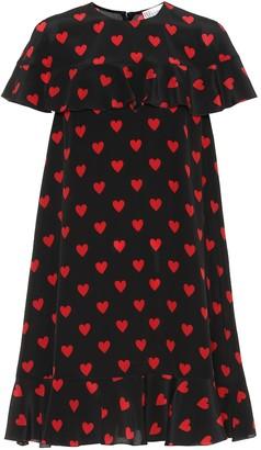RED Valentino Heart-printed silk minidress