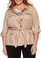 Liz Claiborne Long-Sleeve Roll-Tab Safari Jacket - Plus