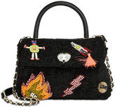 Betsey Johnson Embellished Boucle Small Top-Handle Bag