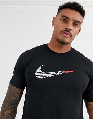 Nike Training t-shirt with swoosh print in black