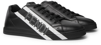 Fendi Logo-Print Leather Sneakers