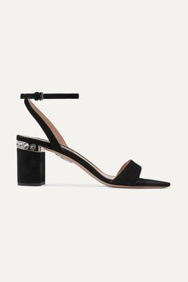 Miu Miu Crystal-embellished Suede Sandals - Black