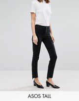 Asos TALL CASTILE Pencil Straight Leg Jeans in Washed Black with Stepped Hem