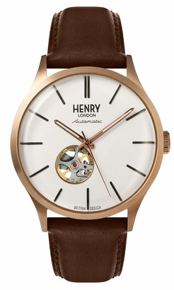 Henry London Mens Skeleton Automatic Watch with Leather Strap HL42-AS-0276