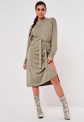 Missguided Khaki Basic Tie Belt Midi Sweater Dress
