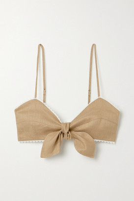 Miguelina Tilly Crochet-trimmed Linen Bralette - Light brown