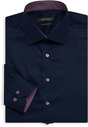 Levinas Contemporary-Fit Contrast-Trim Solid Dress Shirt