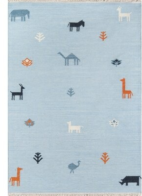 "Zoomie Kids Laury Porter Handmade Flatweave Wool Blue Rug Rug Size: Rectangle 3'6"" X 5'6"""