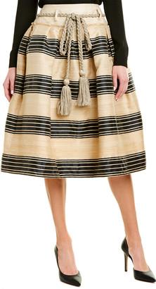 Oscar de la Renta Silk-Blend Midi Skirt