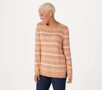 Isaac Mizrahi Live! Plaid Long Sleeve Crew- Neck Sweater