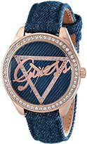 GUESS Women's U0456L6 Iconic Blue Logo Watch with Blue Denim Leather Strap & Rose Gold-Tone Case