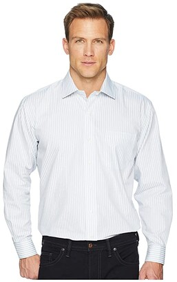 Magna Ready Long Sleeve Magnetically-Infused Stripe Dress Shirt - Spread Collar (Grey/White) Men's Clothing