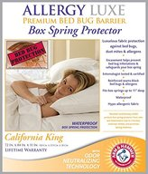 Allergy Luxe Arm & Hammer Antimicrobial Premium Bed Bug Proof Barrier, Dust Mite Proof, Waterproof, Box Spring Encasement Hypoallergenic Protector (California King)