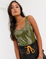Asos Design DESIGN vinyl sleeveless bodysuit with seam details in green