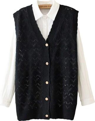 Yunpeng Womens V-Neck Knitting Vest Button Sleeveless Sweater Cardigan Vest Black