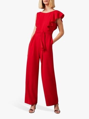 Phase Eight Anasia Frill Jumpsuit, Scarlet