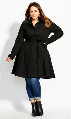 City Chic Blushing Belle Coat - black