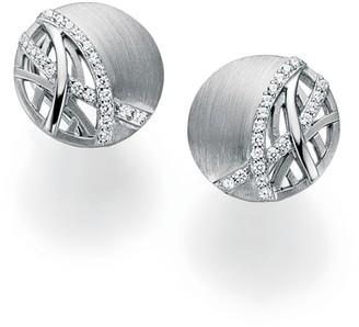 Breuning Sterling Silver CZ Geo Lines Stud Earrings