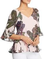 Badgley Mischka Floral Tie-Back Flutter Top