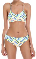 E-TDPAC Women Geometrical Pattern Printed Padded Swimsuit Bikini Set Teen Girls Swimwear