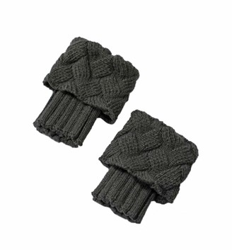 Boomly Women Leg Warmers Socks Autumn Winter Short Socks Cuff Knitted Boots Socks Wool Socks Warm Foot Cover (Dark Gray 15+9CM)