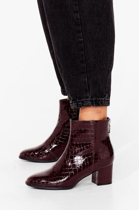 Nasty Gal Womens Croc the Boat Heeled Ankle Boots - Burgundy