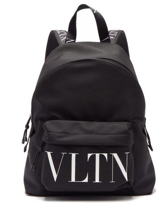 Valentino Logo-print Canvas Backpack - Black