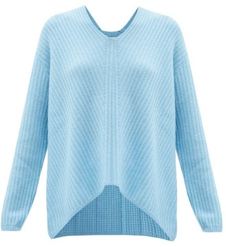 Allude V-neck Ribbed Cashmere Sweater - Blue